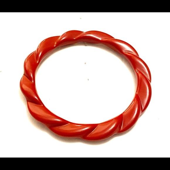 Vintage Jewelry - Vintage red plastic bangle bracelet